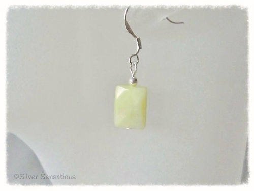 Yellow Olive Jade Faceted Oblong & Sterling Silver Short Drop Earrings